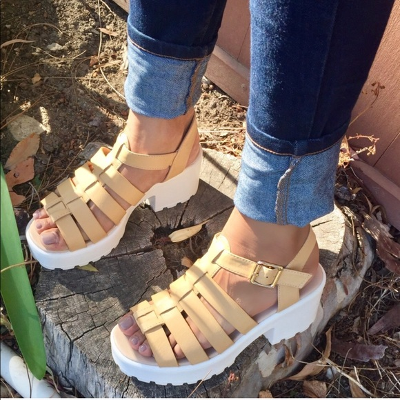 d9be587a540 Beige and white Chunky platform Gladiator sandals